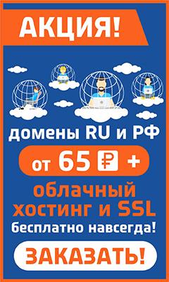 Домены RU и РФ от 64 руб. за год + Бесплатный Хостинг и SSL бесплатно навсегда!